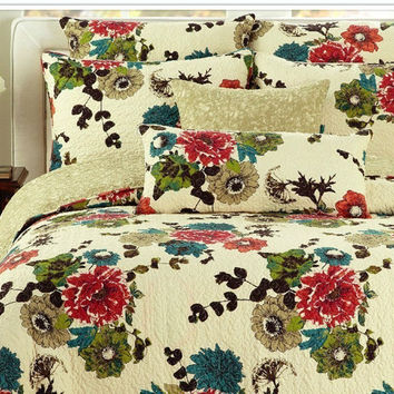 Tache 2-3 PC Cotton Floral Spring Country Garden Bedspread Set