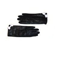 Ladies Chic Black Noir Leather Stitching Bow Winter Gloves Accessory