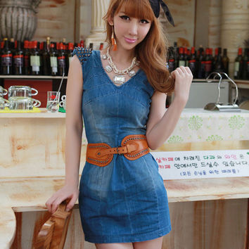 Women's Fashion Sexy Slim Sleeveless Corset Simple Design Denim One Piece Dress [6343395393]
