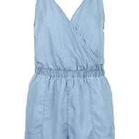 PETITE MOTO Tencel Wrap Playsuit - Bleach