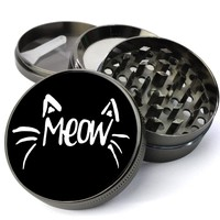 Meow Cat Whiskers Kitty Lovers Deluxe Metal 5 Piece Herb Grinder With Fine Screen - Cheap Grinders You Can Customize