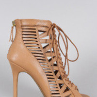 Women's Anne Michelle Caged Lace Up Peep Toe Booties