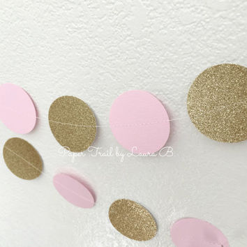 Pink and Gold Glitter Circle Garland, Photo Prop, Party Decorations.  Circle Weddings Decor, Bridal Shower, Baby Shower. 12 FT
