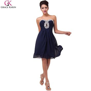 Grace Karin Cocktail Dresses 2017 Sweetheart Robe De Soiree Courte Bead Strapless Chiffon Short Navy Blue Formal Party Dress