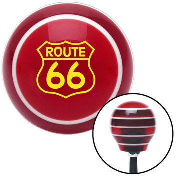 Yellow Route 66 Sign Red Stripe Shift Knob with M16 x 15 Insert