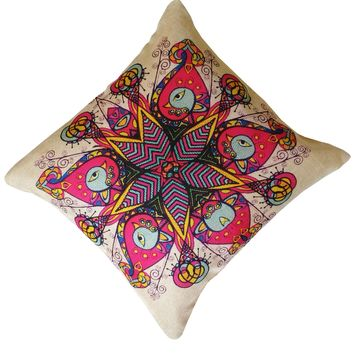 """16"""" x 16"""" with INSERT Decorative Throw Pillow Luxury Square Cushion for Couch Sofa Bedroom and Living Room Floral Mandala Print Gifts for All"""