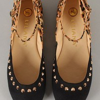 Mendel-47 Leopard Studded Buckle Round Toe Flat