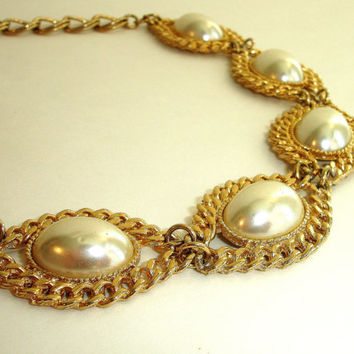 Vintage Gold and Ivory Faux Pearl Rope Trim Necklace, Estate Jewelry, Glass Pearl Choker Necklace, Chunky Statement Necklace, 1980's