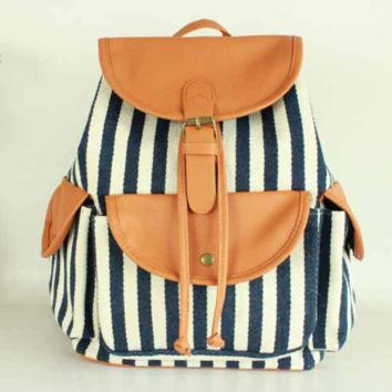 Blue and White Striped Travel Bag Canvas Lightweight College Backpack