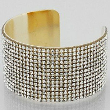 Womens Jewelry, Rhinestone Cuff Bracelets Color : Gold-clear Size : Height:1.25inch