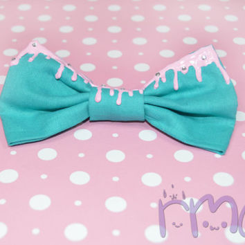 Kawaii Drip Hair Bows Fairy Kei Mint Bows Lolita Fabric Bows Clip Teal Pastel Goth Bows Cute Bows