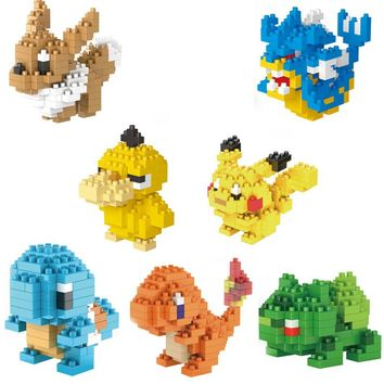 Anime Game image poke micro diamond build block Pikachu Charmander Squirtle Eevee Bulbasaur Gyarados Psyduck nanoblock brick toy