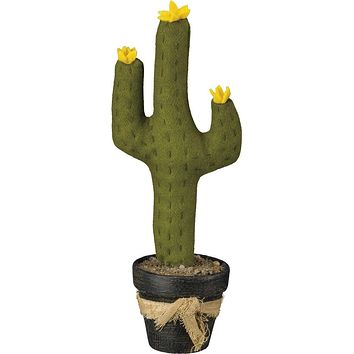 Fabric Cactus in Pot With Yellow Flowers