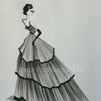 Fashion Illustration Art Original Sketch 1950s Ball Gown Decor
