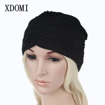 XDOMI 2017 Fashion Women Winter Cotton Beanies Caps Warm Knitting Turban Hat  Wrinkle Indian Stretchable Turban Hats For Women