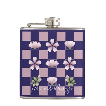 Cherry Blossom - Sakura - Pink Flower Pattern Blue Flask