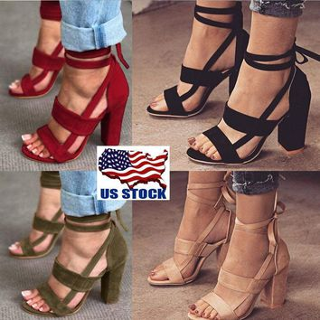 USA Women's High Block Heel Open Peep Toe Lace Up Sandals Dance Party Shoes Size