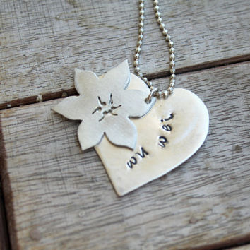 Personalized Two Layers Spiritual Necklace Lotus Heart Sterling Silver Necklace Yoga Tao Inspirational Jewelry Wu Wei Path Jewelry  Letter