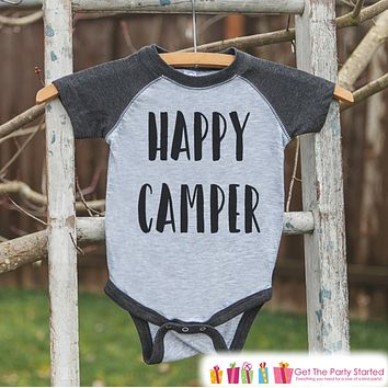 Kid's Happy Camper Outfit - Grey Raglan Shirt or Onepiece - Kids Baseball Tee - Camp Shirt for Baby, Toddler, or Youth - Adventure Clothing