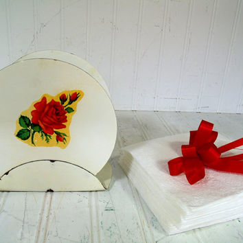 Depression Era White Metal Napkin Round Holder with Red Rose Decor - Vintage Decoware Style with Rose Decal Feminine Office Desk Organizer