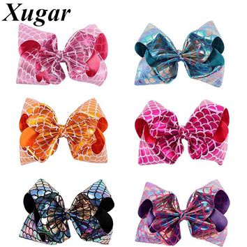 8 Inch Large Fish Scales Bowknot with Clip Bling Hairbows for Girls Mermaid Hair Accessories Festival Party Hairgrips
