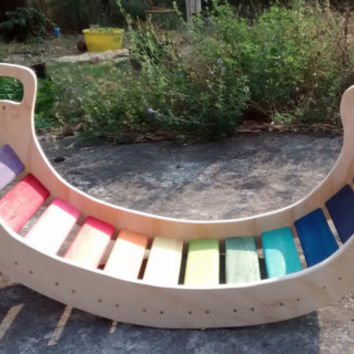 XL Rainbow Rocker kit / Balancing board, bridge, slice / Waldorf inspired wooden board / Wiwiurka playstructure