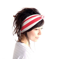 Tie Up Headscarf Raspberry and Oatmeal Stripe