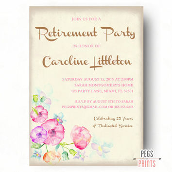Floral Retirement Party Invitation - Retirement Party Invites for Women - PRINTABLE Farewell Party Invitation - Farewell Invitation