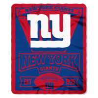 New York Giants NFL Light Weight Fleece Blanket (Marque Series) (50inx60in)