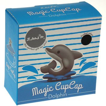 Dolphin Magic Coffee Cup Cover Silicone Cap Blue Supreme Housewares Zan's Gifts