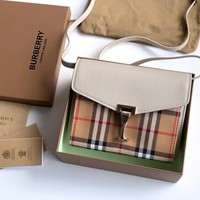 Kuyou Gb1986 Burberry Vintage Check And Gingham Tartan Leather Flap Cover Bag White Shoulder Bags 19.5cm*15cm*7cm