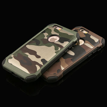 2 in 1 Army Camo Camouflage Pattern back cover Hard Plastic and Soft TPU Armor protective phone cases for iPhone 5 5S 6 6 plus