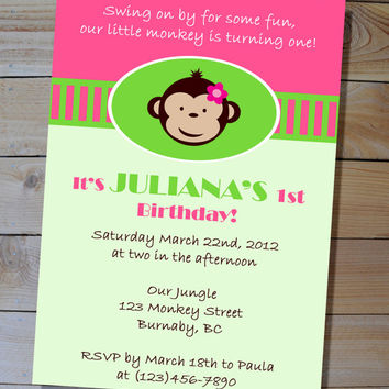 Mod Monkey Girl's Birthday Party Package - Digital Printable Banner, Cupcake Toppers, Candy Bar Wrappers, Water Bottle Labels, Favour Tags