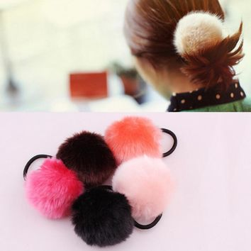 1PC Rabbit Fur Hair Band Ring Tie Rope Elastic Hair Bobble Pony Tail Holder #Y