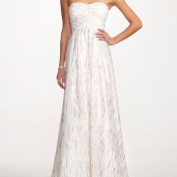 Strapless Glitter Mesh Print Ball Gown - David's Bridal - mobile