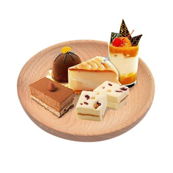 Solid Wood Round Serving Tray Snack Fruit Dry Fruit Plate High-Quality Handmade Sushi Dish Dinnerware Tableware