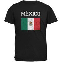 World Cup Distressed Flag Mexico Black Adult T-Shirt