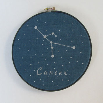 Embroidery  Hoop Art , Zodiac Constellation, Cancer, Hand painted, Astrology, Constellations