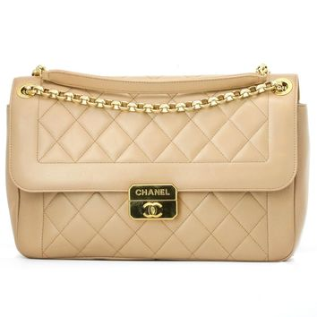 Chanel Jumbo Flap Shoulder Bag Quilted Leather Beige Chic With Me Collection