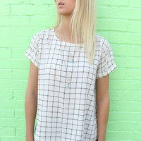 Soho Black & Cream Checkered Square Print Short Sleeve Top