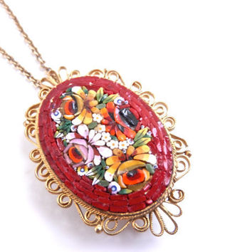 Vintage Micro Mosaic Flower Necklace -  Red Rose Glass Costume Jewelry / Italian Glass Art