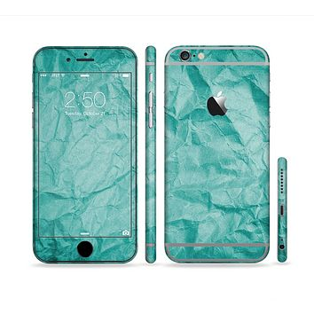 The Crumpled Trendy Green Texture Sectioned Skin Series for the Apple iPhone 6 Plus