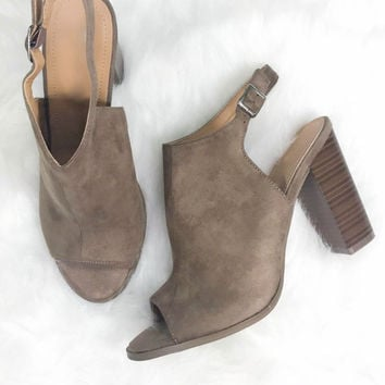 Stop And Stare Taupe Suede Open Toe Booties