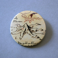 "The Hobbit - The Lonely Mountain 1x1.5"" pinback button badge from Stickerama"