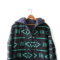 vintage tribal coat. long winter coat. black & green. toggle button down coat. hooded coat. duffel coat.
