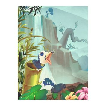 Apple Green Blue Tropical Landscape Fleece Blanket