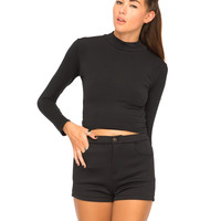 Motel Cece High Waisted Shorts in Quilted Black