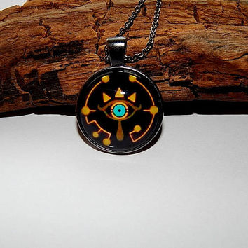 Zelda Sheikah Slate Eye Symbol pendant necklace jewelry, Zelda Eye logo, Zelda Breath of the Wild Sheikah Eye Logo Stencil, Zelda Eye patch