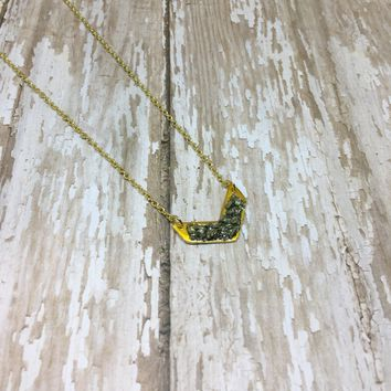 Crushed Raw Pyrite Chevron Arrow Gold Plated Pendant Necklace