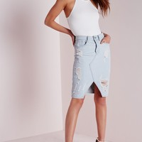 Missguided - Ripped Midi Denim Skirt Pale Blue